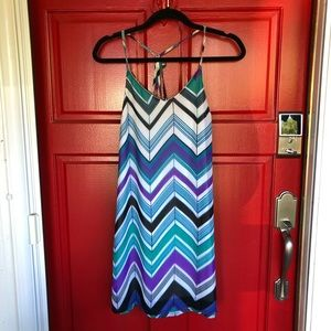 Beautiful striped chevron cross back mini dress